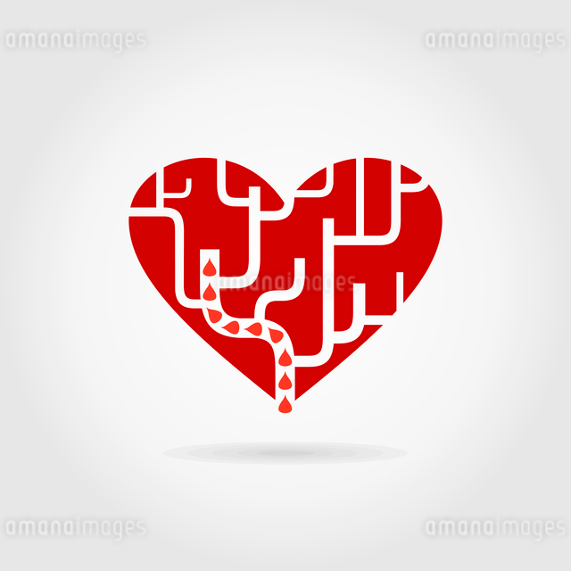 Red heart a labyrinth. A vector illustrationのイラスト素材 [FYI03087968]