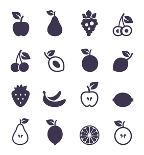 Set of icons of fruit. A vector illustrationのイラスト素材 [FYI03087975]