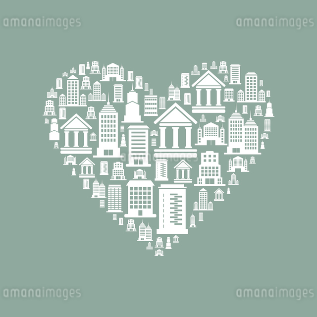 Heart made of houses. A vector illustrationのイラスト素材 [FYI03088016]