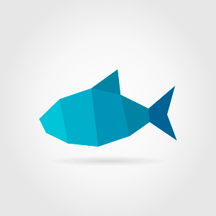 Blue fish on a grey background. A vector illustrationのイラスト素材 [FYI03088045]