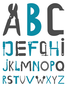 The alphabet from tools. A vector illustrationのイラスト素材 [FYI03088110]