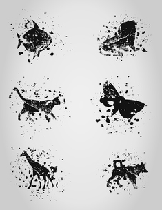 Set of animal blots. A vector illustrationのイラスト素材 [FYI03088112]