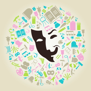Subjects of art round a mask. A vector illustrationのイラスト素材 [FYI03088198]