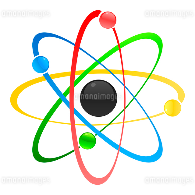 Atom. Model of atom with a kernel. A vector illustrationのイラスト素材 [FYI03088215]