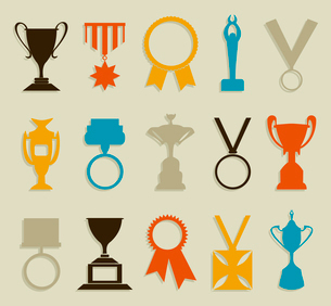 Awards in the form of medals and cups. A vector illustrationのイラスト素材 [FYI03088223]
