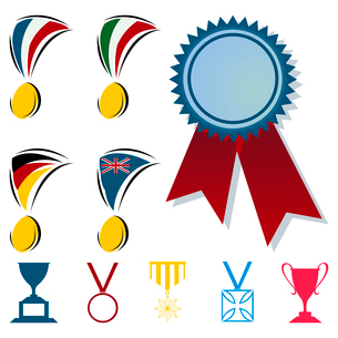 Award. Awards in the form of medals and cups. A vector illustrationのイラスト素材 [FYI03088224]