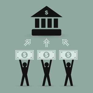 The contribution of money to bank. A vector illustrationのイラスト素材 [FYI03088301]