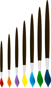 Assembly of brushes of the various form, size and colour.のイラスト素材 [FYI03088463]