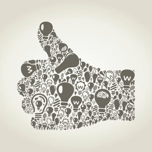 Hand of the person made of bulbs. A vector illustrationのイラスト素材 [FYI03088469]