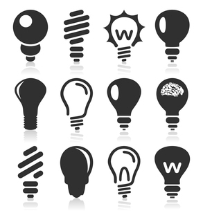Set of icons of bulbs for design. A vector illustrationのイラスト素材 [FYI03088473]