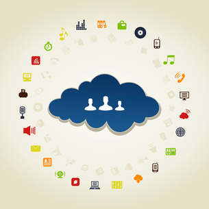 People in global business a cloud. A vector illustrationのイラスト素材 [FYI03088494]