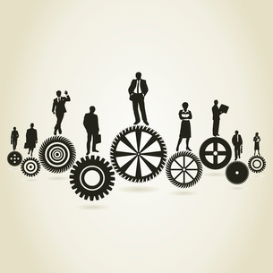 Businessmen stand on gear wheels. A vector illustrationのイラスト素材 [FYI03088501]