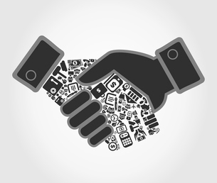 Hand shake about business by a hand. A vector illustrationのイラスト素材 [FYI03088514]