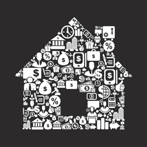 The house made of business. A vector illustrationのイラスト素材 [FYI03088524]
