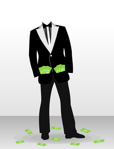 The businessman with dollar instead of a head. A vector illustrationのイラスト素材 [FYI03088533]