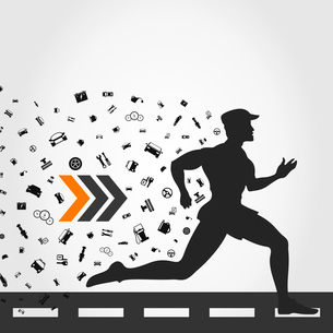 The person runs from transport. A vector illustrationのイラスト素材 [FYI03088591]