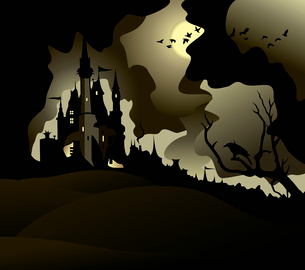 Old castle on a mountain, moon and the birds turnのイラスト素材 [FYI03088609]
