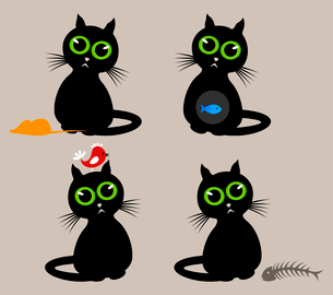 Cat4. Black cat with different animals. A vector illustrationのイラスト素材 [FYI03088611]