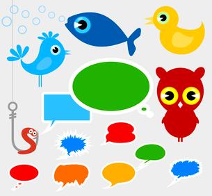 Cartoon film animals. Set of icons a cartoon film of animals. A vector illustrationのイラスト素材 [FYI03088612]