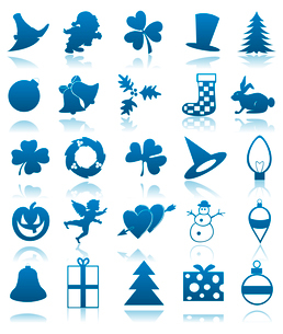 Icons on a theme of holidays of dark blue colour. A vector illustrationのイラスト素材 [FYI03088618]