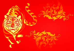 Chinese tiger. White tiger on a red background. A vector illustrationのイラスト素材 [FYI03088638]