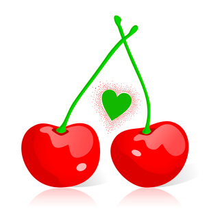 Cherry2. Two red cherries and heart. A vector illustrationのイラスト素材 [FYI03088639]