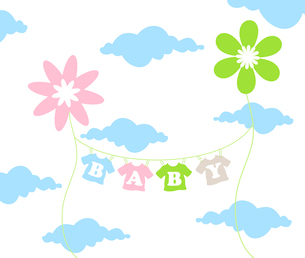 On a cord the children's clothes dry. A vector illustrationのイラスト素材 [FYI03088647]