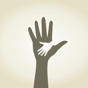 Childrens hand in a hand. A vector illustrationのイラスト素材 [FYI03088650]