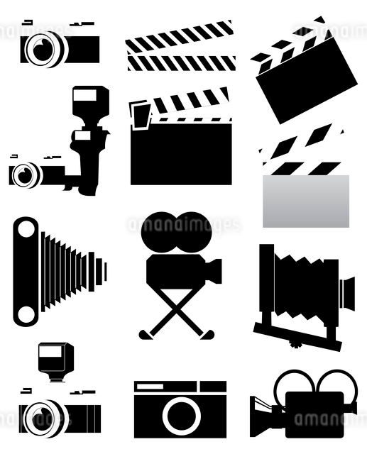 Cinema. Silhouettes of a photo and video of chambers of black colour. A vector illustrationのイラスト素材 [FYI03088674]