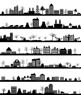 City landscape. Collection of city landscapes. A vector illustrationのイラスト素材 [FYI03088688]