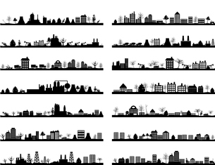 Collection of city landscapes. A vector illustrationのイラスト素材 [FYI03088691]