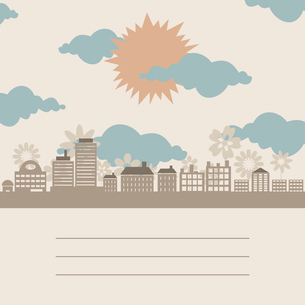 City a frame. The sun on a city about flowers. A vector illustrationのイラスト素材 [FYI03088694]