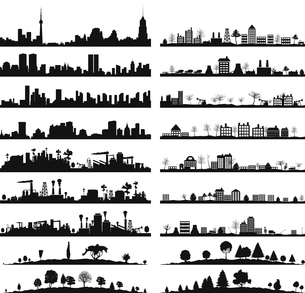 Collection of city landscapes. A vector illustrationのイラスト素材 [FYI03088695]