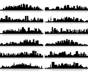 Collection of city landscapes. A vector illustrationのイラスト素材 [FYI03088699]