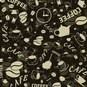 Brown background on a coffee theme. A vector illustrationのイラスト素材 [FYI03088729]