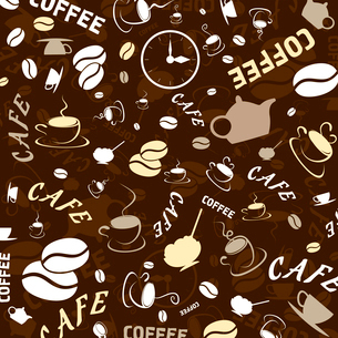 Brown background on a coffee theme. A vector illustrationのイラスト素材 [FYI03088731]