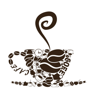 Coffee cup4. The coffee cup consists of coffee subjects. A vector illustrationのイラスト素材 [FYI03088740]