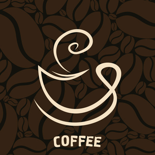White cup of coffee on a brown background. A vector illustrationのイラスト素材 [FYI03088743]