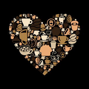 Heart made of coffee. A vector illustrationのイラスト素材 [FYI03088749]
