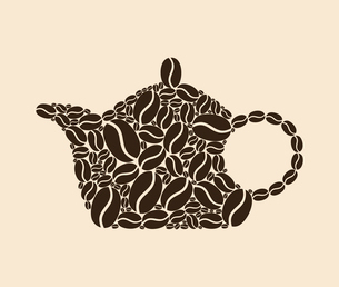 Coffee teapot. Teapot collected from coffee grains. A vector illustrationのイラスト素材 [FYI03088757]