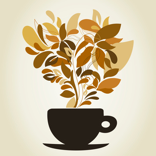 Cup of coffee a flower. A vector illustrationのイラスト素材 [FYI03088763]