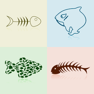 Collection of fishes2. Set of silhouettes of fishes and bones. A vector illustrationのイラスト素材 [FYI03088768]