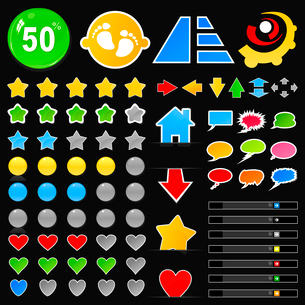 Collection of beautiful buttons for the Internet. A vector illustrationのイラスト素材 [FYI03088782]