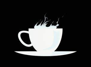Cup. White cup with a smoke on a black backgroundのイラスト素材 [FYI03088843]