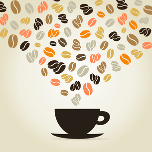 Coffee cup made of coffee grains. A vector illustrationのイラスト素材 [FYI03088851]