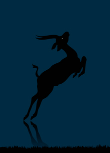 Deer. Wild animal with burning eyes in night darkness.のイラスト素材 [FYI03088871]