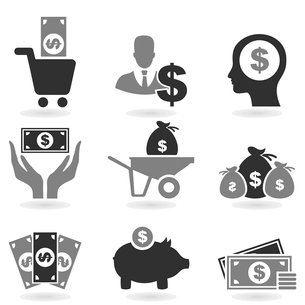 Set of icons of dollar. A vector illustrationのイラスト素材 [FYI03088892]