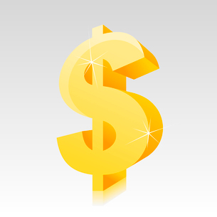 Dollar2. Gold sign on dollar on a grey background. A vector illustrationのイラスト素材 [FYI03088902]