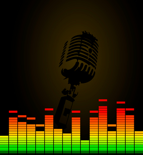 Disco microphone. Microphone in a disco on a black background. A vector illustrationのイラスト素材 [FYI03088913]