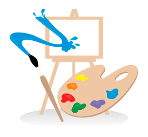 The easel, palette and brush does drawing. A vector illustrationのイラスト素材 [FYI03088917]